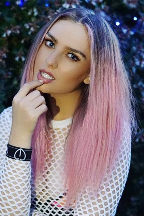 Perrie Edwards Straight Pink Angled Dark Roots Uneven