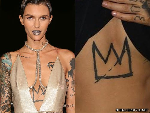 Ruby Rose Crown Sternum Tattoo