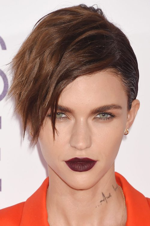Ruby Rose Wavy Medium Brown Faux Sidecut, Pixie Cut Hairstyle | Steal ...