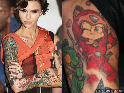 Cardi B Tattoos Arm: Ruby Rose Samurai Pizza Cats Forearm Tattoo