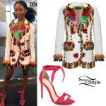 Skai Jackson: Fringe Blazer, Pink Sandals