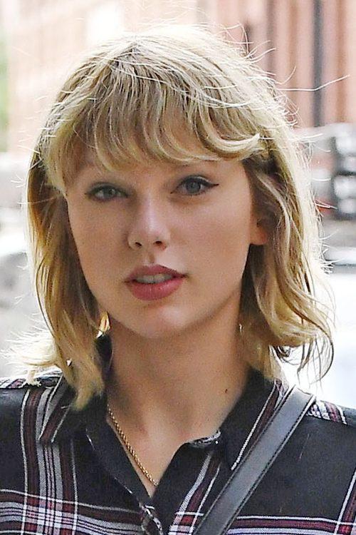 Taylor Swift Wavy Light Brown Bob, Straight Bangs ...