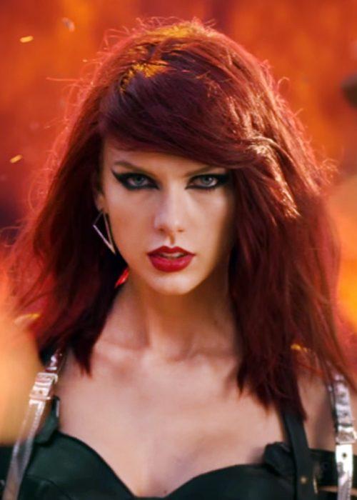 Taylor Swift Straight Burgundy Bouffant, Messy, Sideswept ...