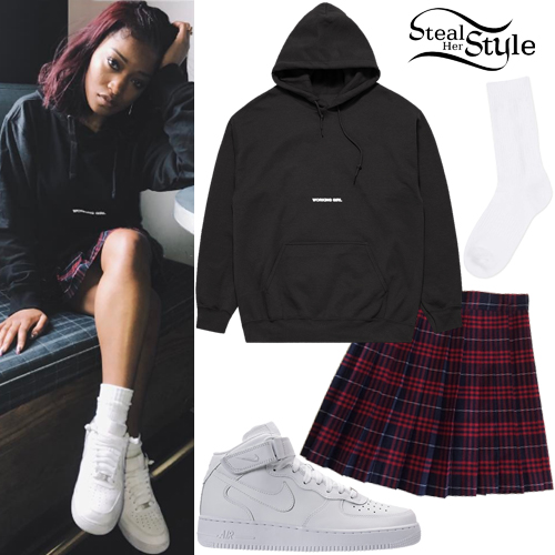 d6c2e132cd Keke Palmer: Black Hoodie, Plaid Skirt | Steal Her Style
