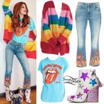 Bella Thorne: Rainbow Sweater, Flame Jeans