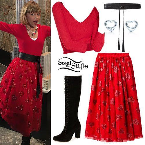 Grace VanderWaal: Red Sweater, Heart Skirt