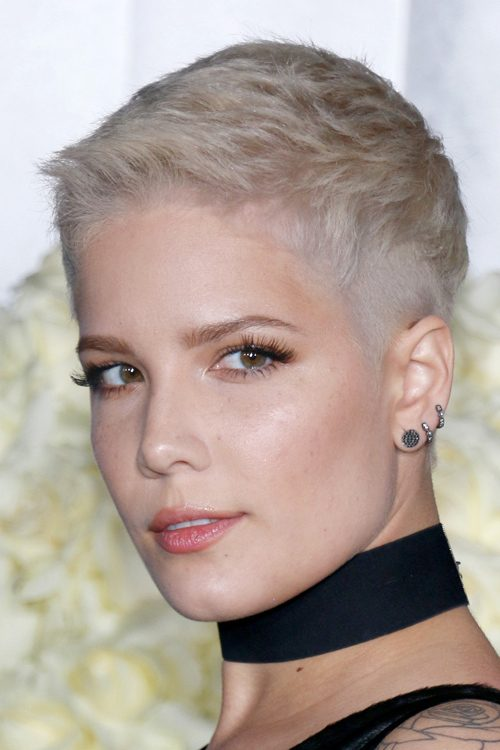 Halsey Straight Ash Blonde Pixie Cut Hairstyle Steal Her Style
