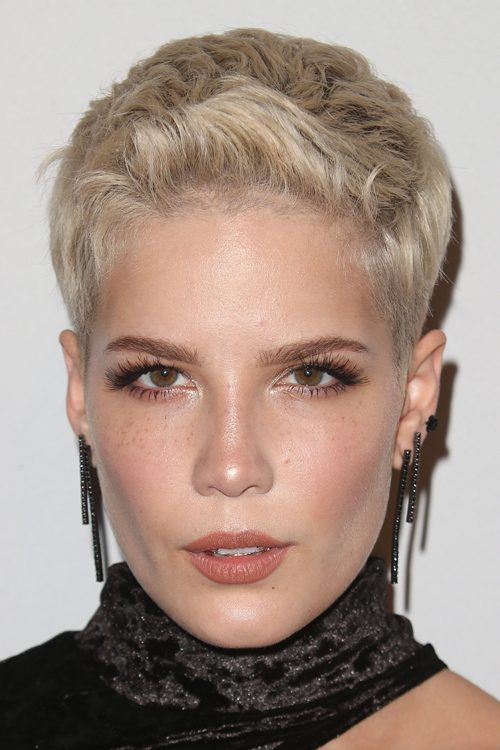 Halsey Straight Platinum Blonde Pixie Cut Hairstyle | Steal Her Style Vanessa Hudgens Straight Hair