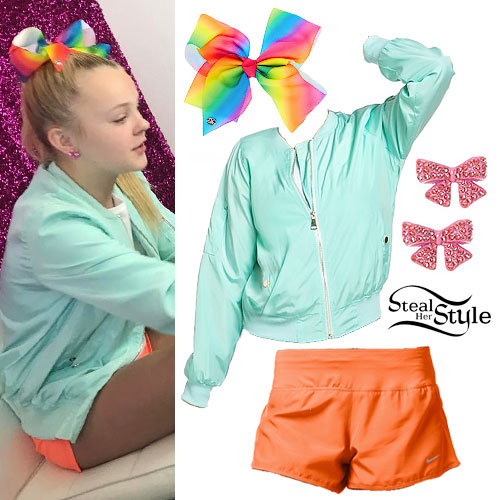 Jojo Siwa Rainbow Bow Mint Bomber Steal Her Style