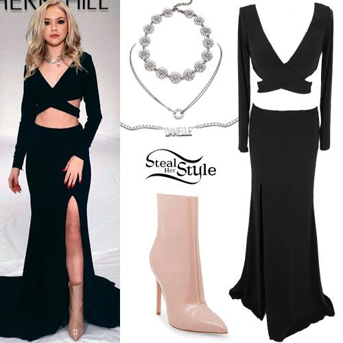 Jordyn Jones: Cutout Wrap Dress, Nude Boots