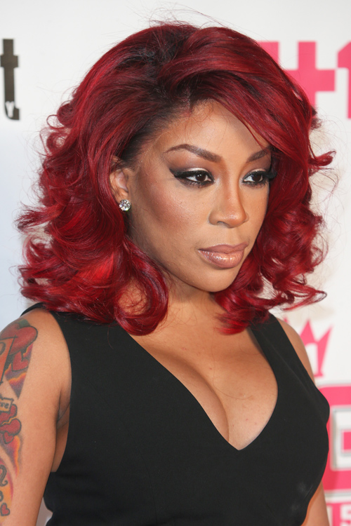 K. Michelle Wavy Burgundy Bob, Layered Bob Hairstyle ... K Michelle