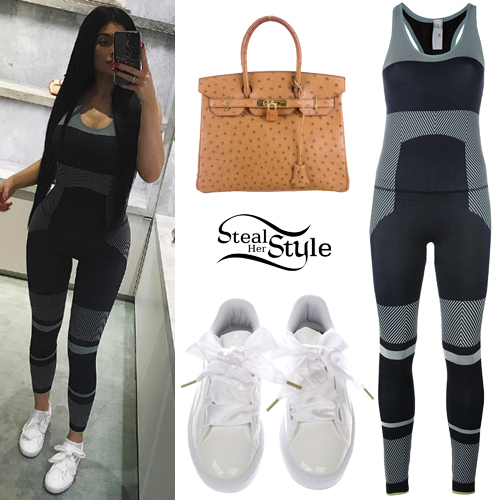Kylie Jenner Striped Jumpsuit White Sneakers Steal Her Style