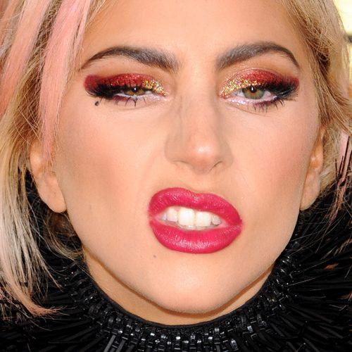 Lady Gaga Makeup: Black Eyeshadow Gold Eyeshadow Red - Lady Gaga Makeup