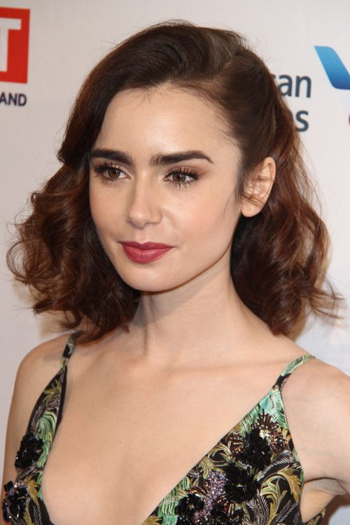 Lily Collins Wavy Dark Brown Barrel Curls, Bob, Faux ...