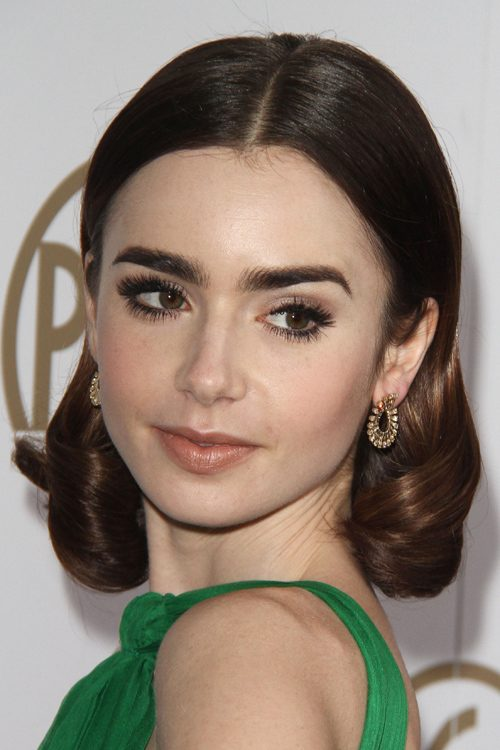 Lily Collins Wavy Dark Brown Bob, Inward Curl Hairstyle ...