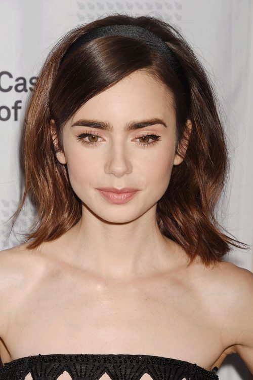 Lily collins shoulder length hair
