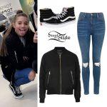 Mackenzie Ziegler: Bomber Jacket, Ripped Jeans