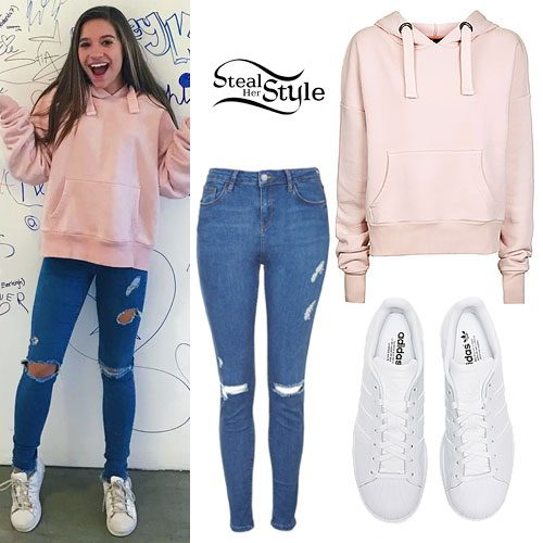 Mackenzie Ziegler: Pink Hoodie, Ripped Jeans