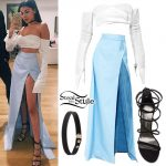 Madison Beer: Slit Skirt, Strappy Sandals