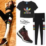Martina Stoessel: Adidas Tee, Colorblock Leggings