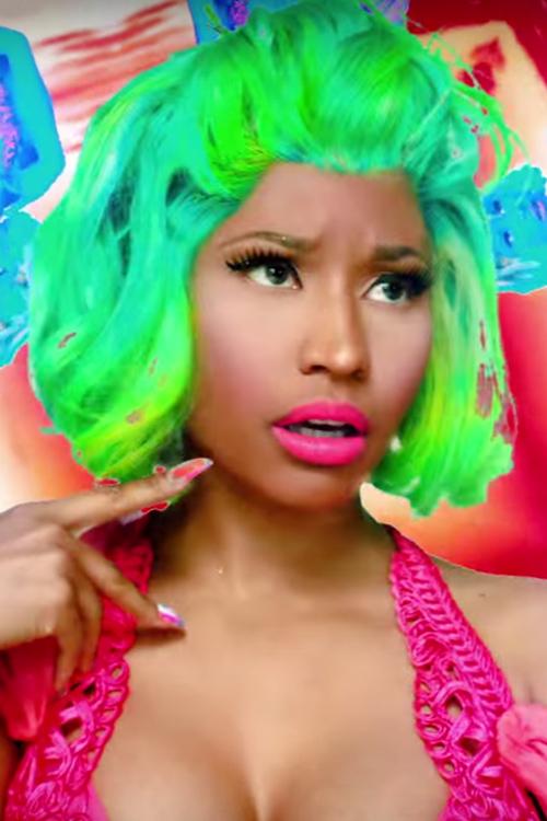 Nicki Minaj Wavy Green Bob Uneven Color Wig Hairstyle