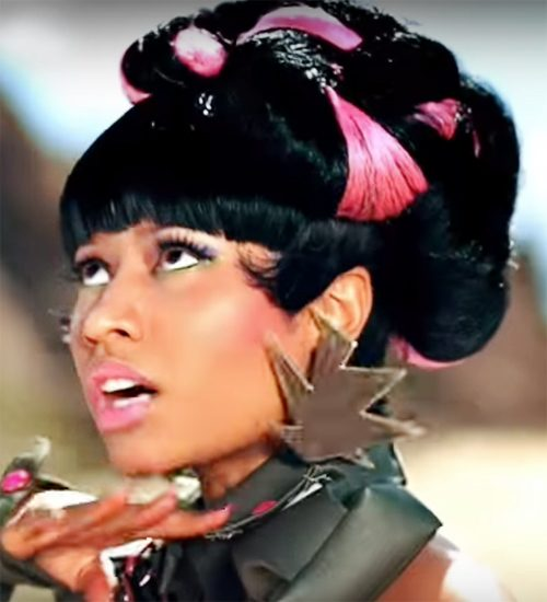 Nicki Minaj Straight Black Blunt Bangs Chunky Highlights Updo Wig Hairstyle