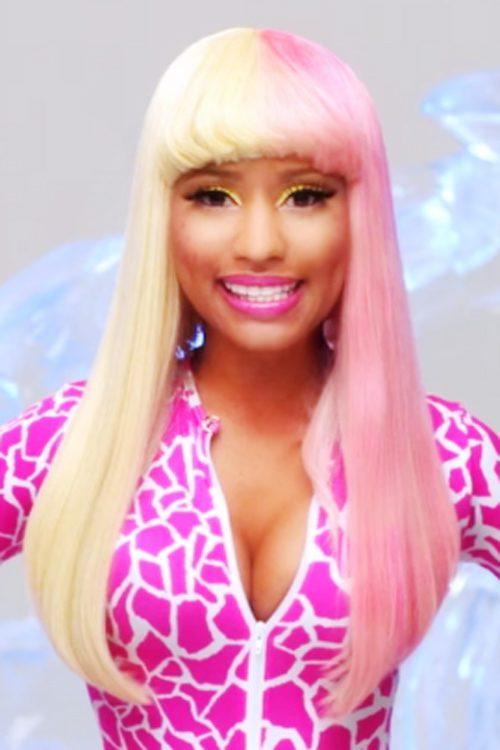 nicki minaj straight pink platinum blonde blunt bangs