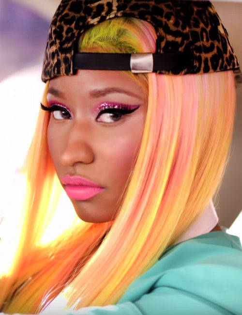 Nicki Minaj Straight Orange Peek A Boo Highlights Uneven