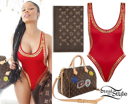 Nicki Minaj: Red Studded Swimsuit