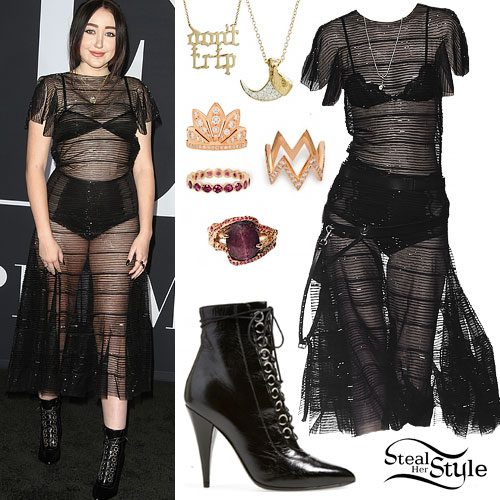 Noah Cyrus: Sheer Dress, Patent Boots