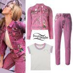 Peyton List: Pink Denim Outfit