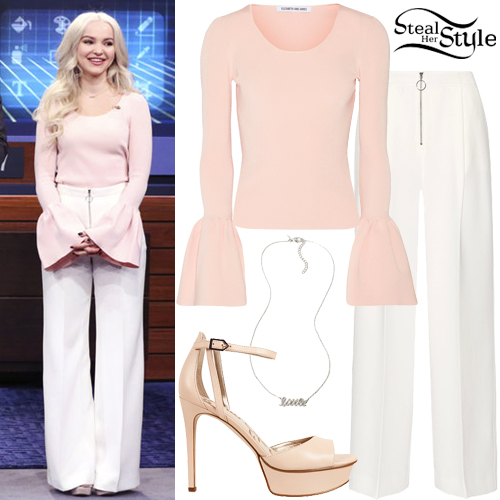 Dove Cameron: Pink Top Wide Leg Pants Steal Her Style