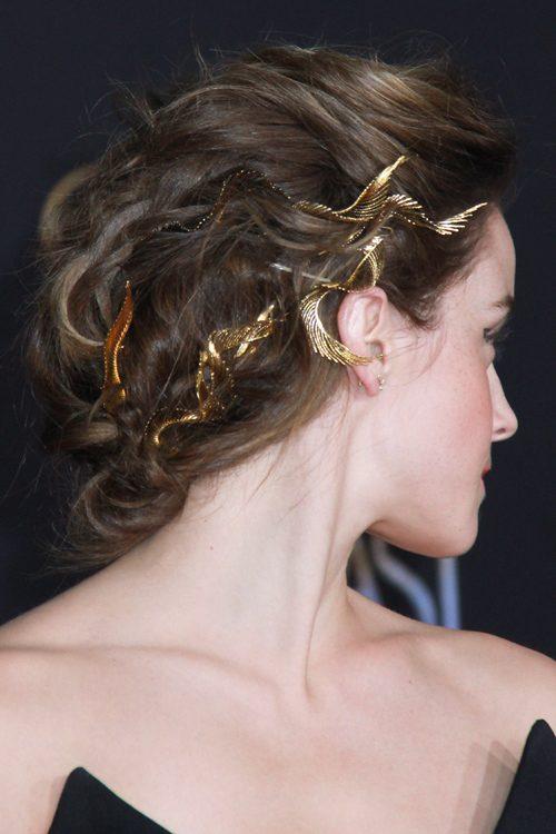 Emma Watson Wavy Medium Brown Updo Hairstyle | Steal Her Style