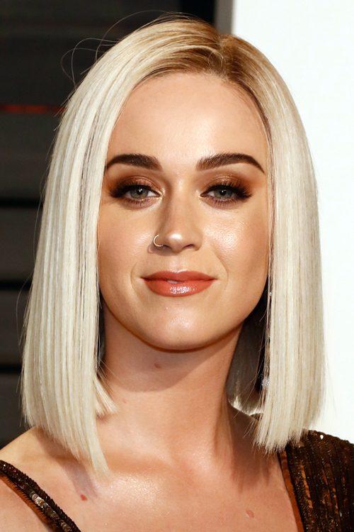 Katy Perry Straight Platinum Blonde Blunt Cut Bob Dark