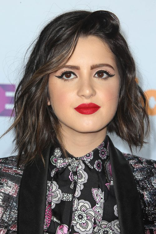 Laura Marano Wavy Dark Brown Bob Peek A Boo Highlights
