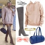 Pia Mia Perez: Pink Hoodie, Suede Boots
