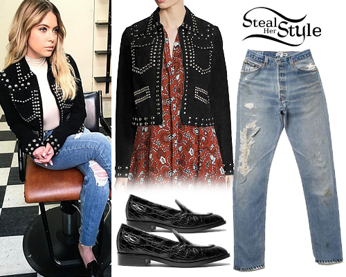 Ashley Benson  Studded Jacket  Ripped Jeans. Ashley Benson Clothes   Outfits   Steal Her Style