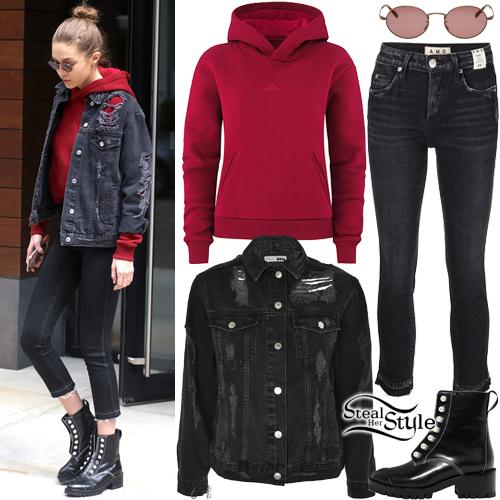 Gigi Hadid Red Hoodie Ripped Denim Jacket Steal Her Style