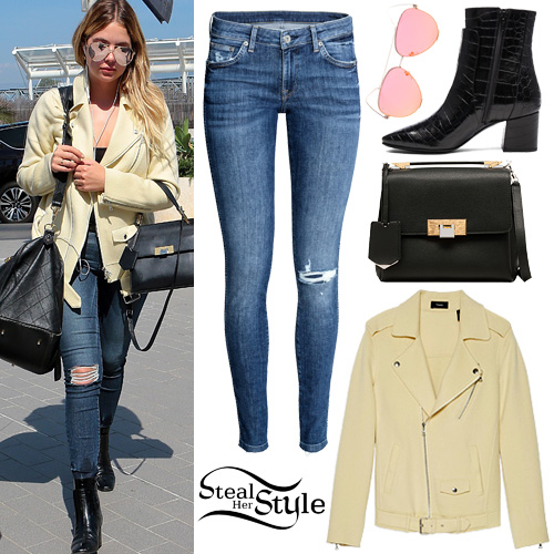 Ashley Benson  Yellow Moto Jacket  Ripped Jeans. Ashley Benson Clothes   Outfits   Steal Her Style