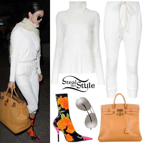 Kendall Jenner White Ribbed Top And Pants Steal Her Style