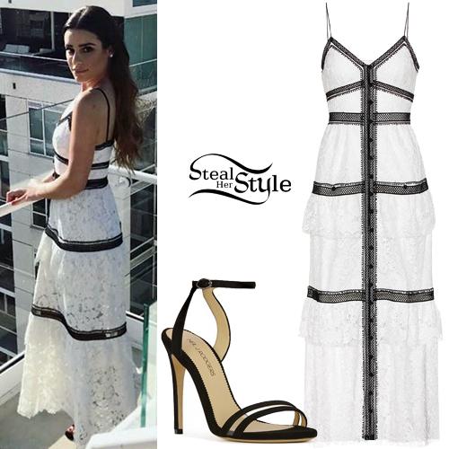 1e638e56c3c6 Lea Michele: Lace Trim Dress, Black Sandals | Steal Her Style