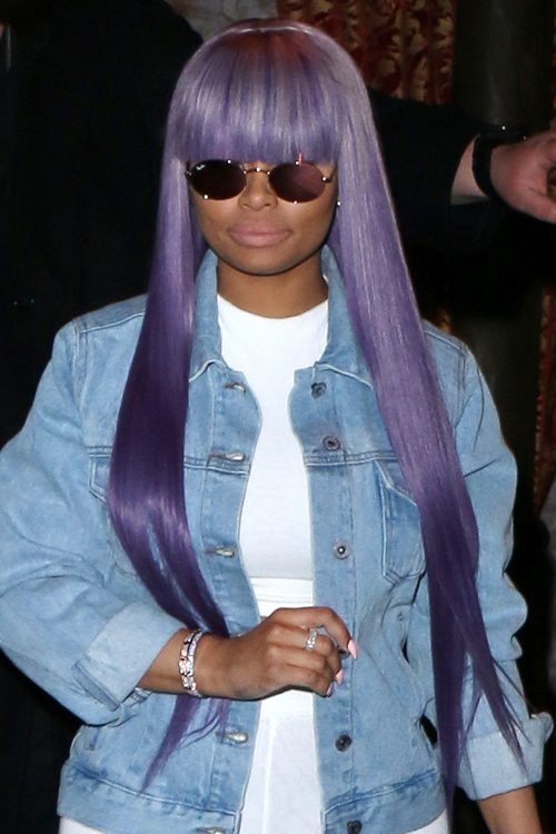 Blac Chyna Straight Purple Straight Bangs Uneven Color