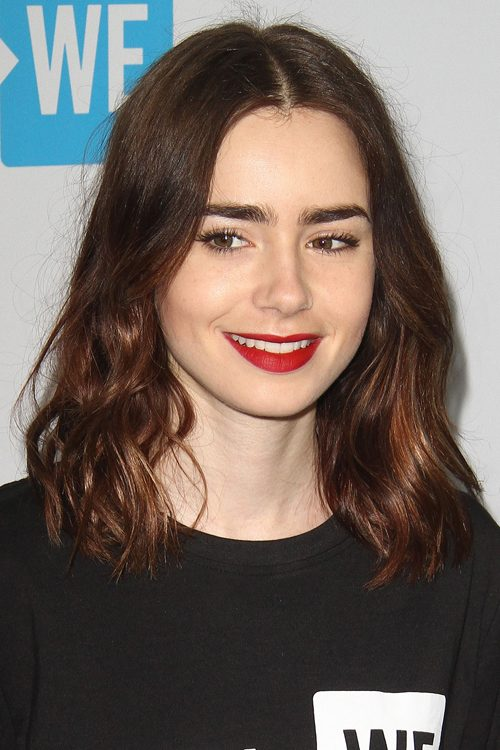 Lily Collins Natural Hair Color