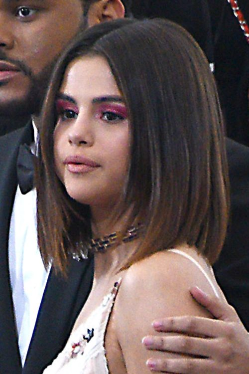 Selena Gomez Straight Dark Brown Angled, Bob, Peek-A-Boo ...