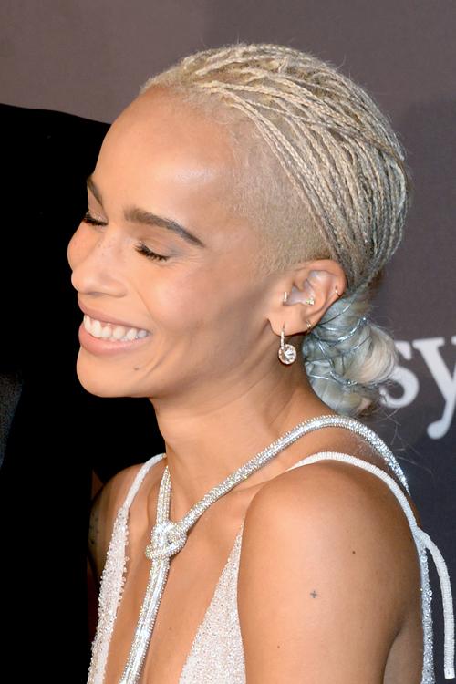 Zo 235 Kravitz Straight Silver Bun Mini Braids Undercut
