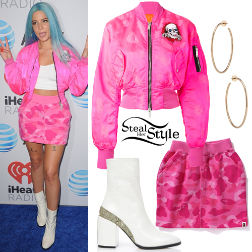 Halsey Pink Bomber Jacket Camo Skirt Steal Her Style