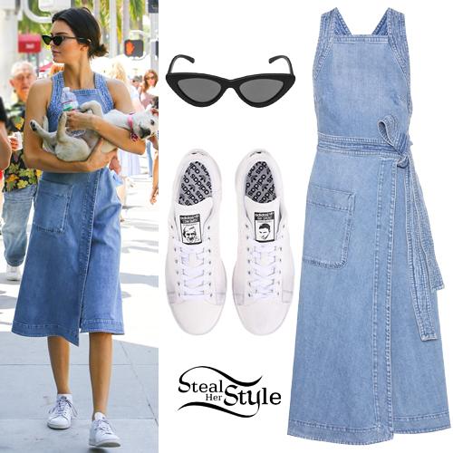 Kendall Jenner Denim Dress White Sneakers