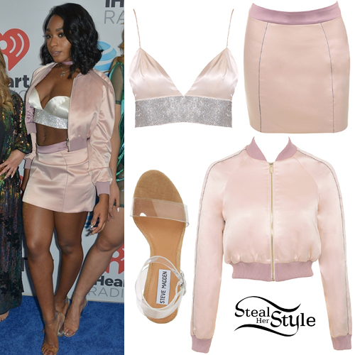 b63ff95a8b2 Normani Kordei Hamilton  Satin Crop Jacket   Skirt