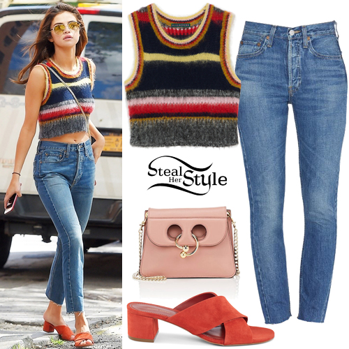 Selena Gomez Striped Crop Top Blue Jeans