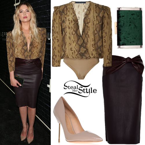 Ashley Benson  Snake Print Bodysuit  Leather Skirt. Ashley Benson Clothes   Outfits   Steal Her Style
